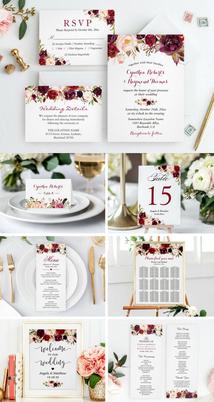 free wedding invitation templates country theme%0A Burgundy Marsala Red Floral Wedding Invitation Suite