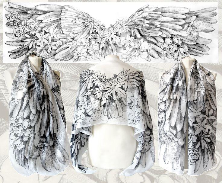Angelic Wings by Minkulul hand drawn on silk. Art by Luiza Malinowska