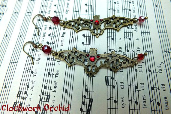 Dangle Earrings Bat Earrings Gothic Earrings by 0ClockworkOrchid0