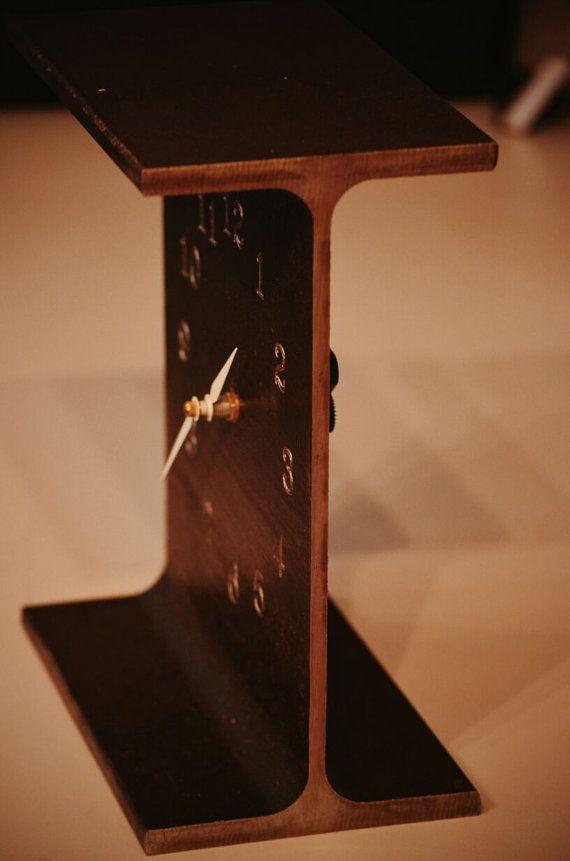 Steel beam desk clock by NAKsteel on Etsy