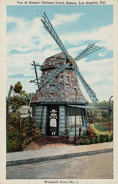 Windmill Store No. 1 - Van de Kamp's Holland Dutch Bakery, on Western Avenue and Beverly Blvd. in Los Angeles, CA - 1921, photo by zilf, via Flickr