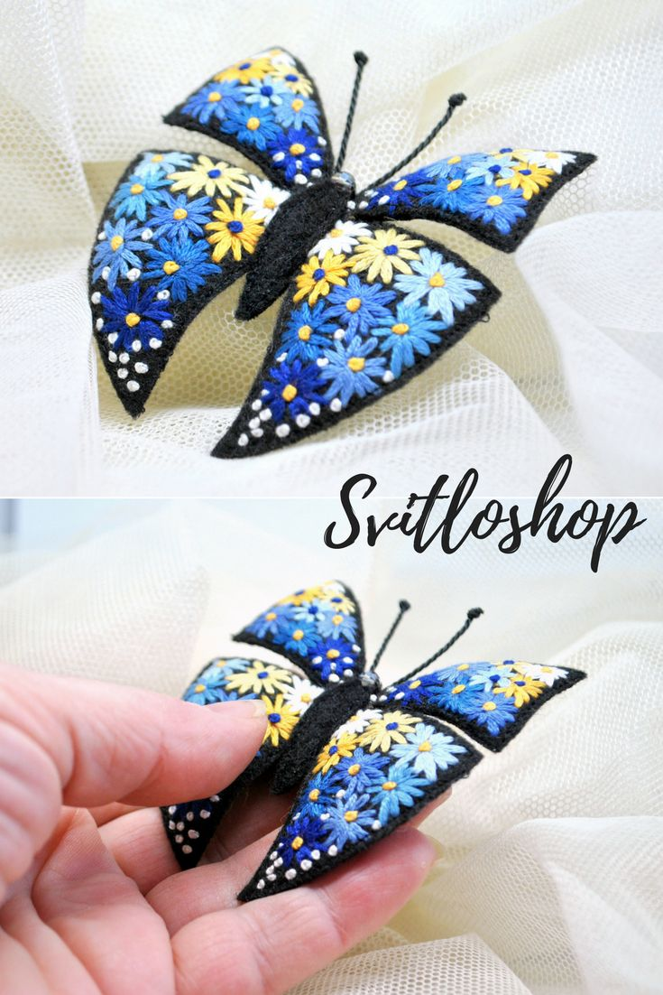 Hand embroidery butterfly brooch Flower embroidery pin Embroidery art Colorful blue yellow butterfly pin Fabric butterfly Textile jewelry