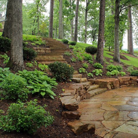 ( Water's edge ) Hillside landscaping - The beauty of shade ( This would be great in our backyard ) ( TN crab orchard flagstone )