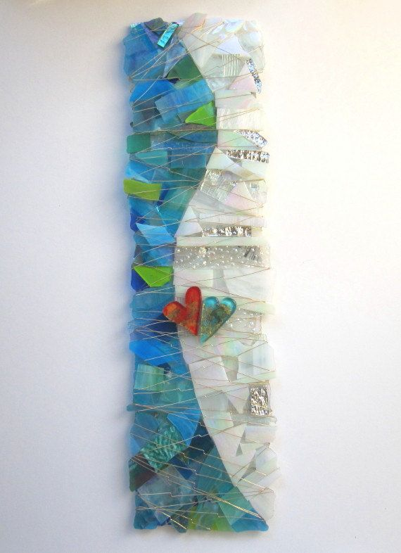Art Glass Sculpture -At Last - in White, Clear Turquoise and Blues. $450.00, via Etsy.