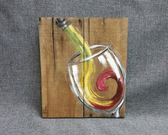 Rot Weiss Wein Painting Palette Wand Art Dekor, aufgearbeiteten Holz, Distressed, Weinglas, handgemalt, Geschenk