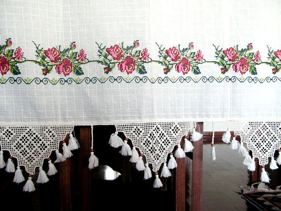 ECO Friendly Naturel Cotton Curtain Emroidery and Adorned with Handcrochet Lace and Wooden beads and Tassel