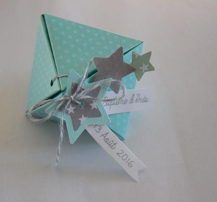 Boite à dragées étoiles vert menthe et gris - baptême, mariage, communion : Cadeau de remerciement par tresors-d-enfance