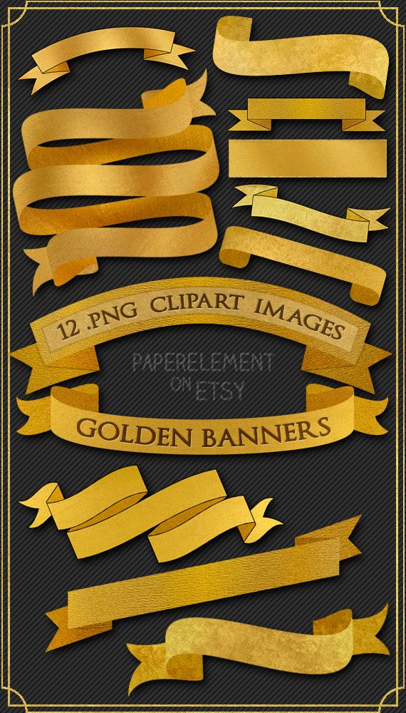 This is a set of 12 gold ribbon banner clipart images in a variety of styles and shiny, metallic, lustrous golden sheens that come as .PNG files with transparent backgrounds. These gold banners are approximately 5-6 inches in width at full size, are all ready to lay right on top of whatever project you need to use them in, and are simple to rotate into any position or resize and overlay with your text!