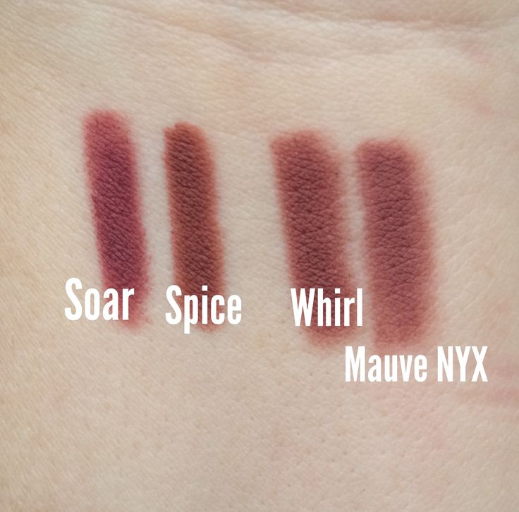 Here's a quick swatch I did of MAC Soar, Spice and Whirl on my arm, along with a comparison of Whirl's dupe, NYX Mauve. Now they are very similar but you can see the difference in the picture; Whir...