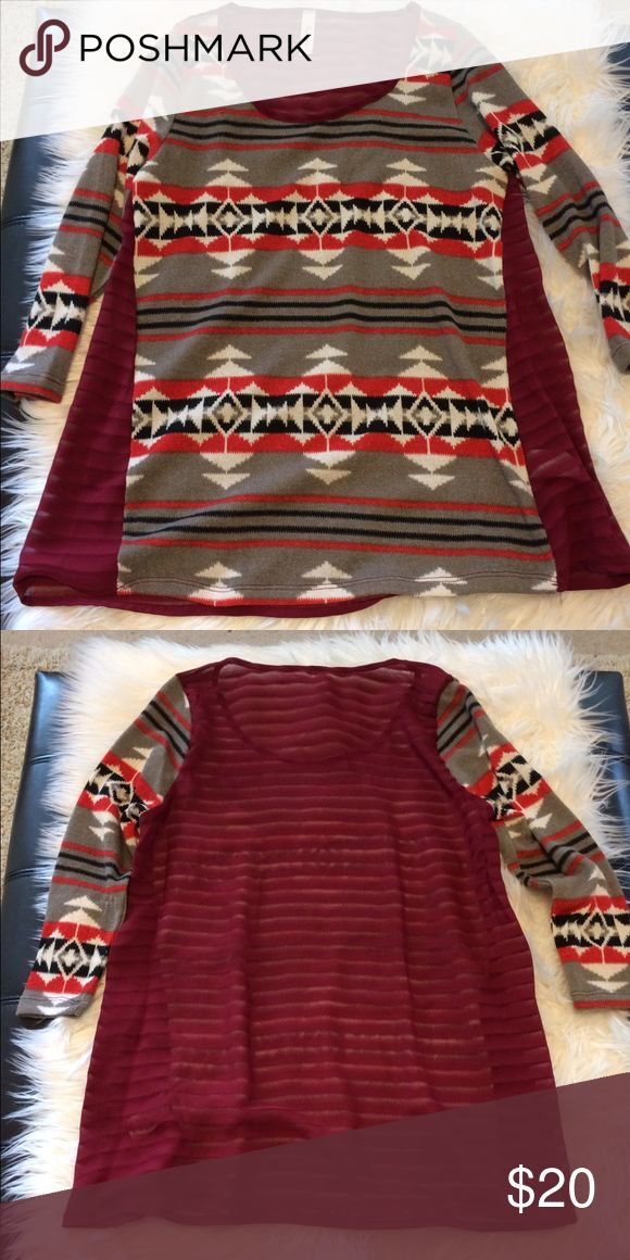 NEW Aztec Top w/ Sheer Back Detail NEW Aztec Top w/ Sheer Back Detail. The perfect fall staple! Size Small. 96% Polyester, 4% Spandex. New Without Tags. Tops Blouses