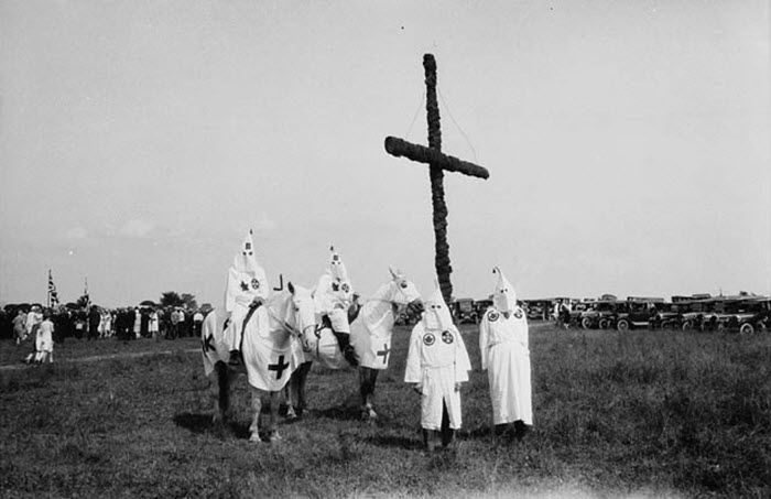 Canadian members of the Ku Klux Klan at a gathering near Kingston, Ontario, Canada in 1927