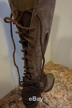90aecd0fc122 Freebird by Steven Coal Grey Leather Tall Boot Lace Up Back Size 8 Medium