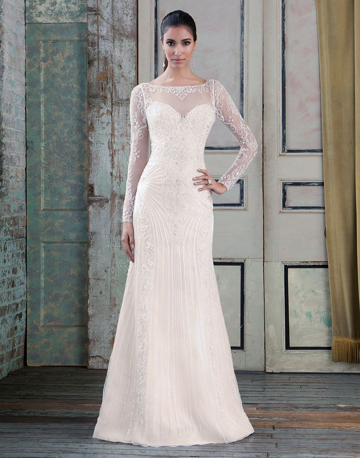 Justin Alexander signature wedding dresses style 9786 Beaded tulle straight accentuated with a sabrina neckline.