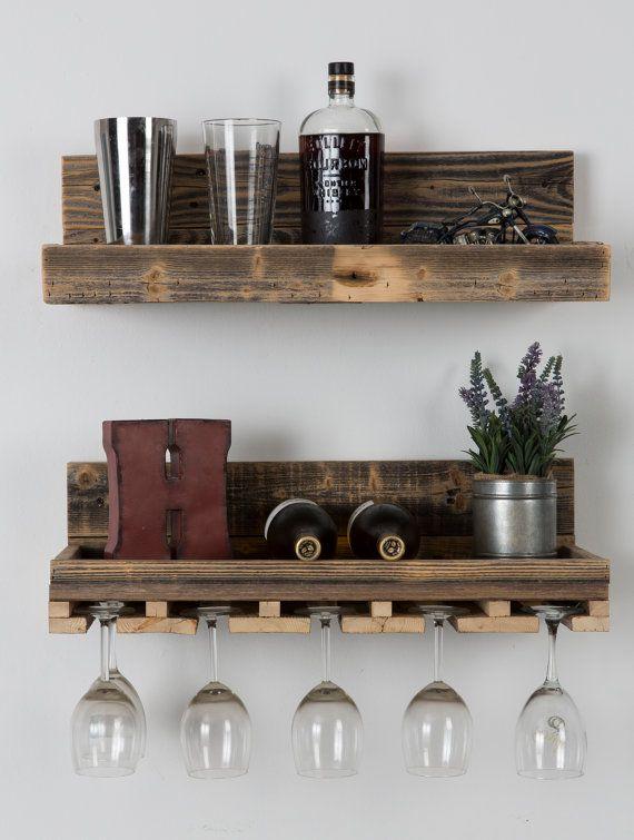 Reclaimed wood floating wine rack