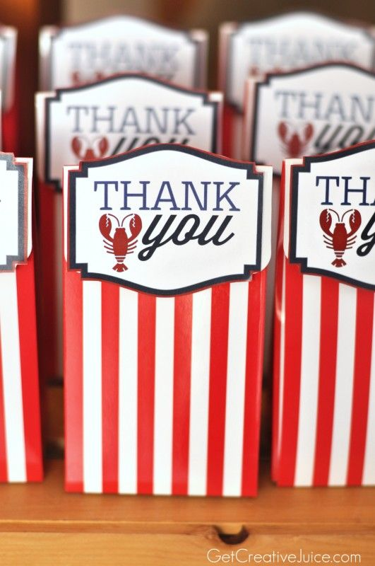 Nautical Thank You Party Favors  #kidsparty #birthdayparty #boyspartyideas