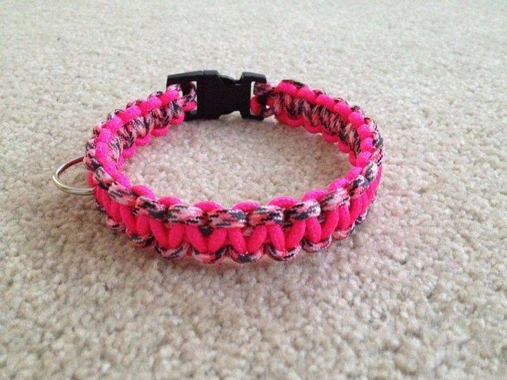 Paracord Dog collar Camo and Pink