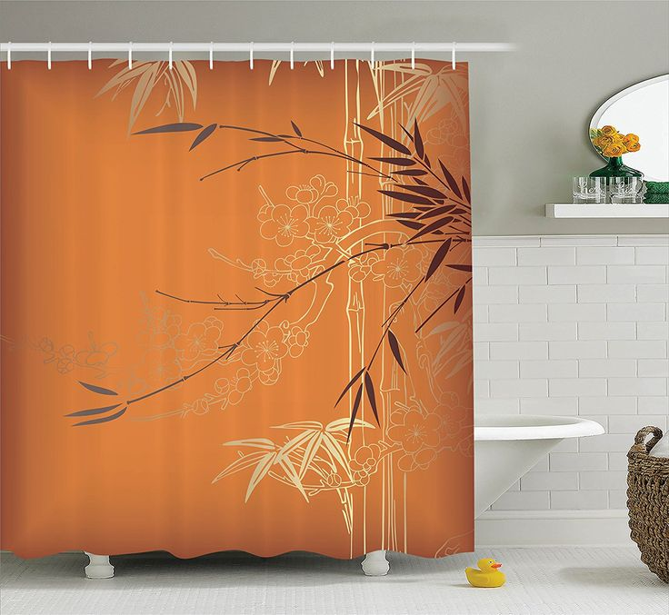 Amazon.com: Ambesonne Bamboo House Decor Collection, Bamboo Branches And  Flowers Illustration In. Shower Curtain ...