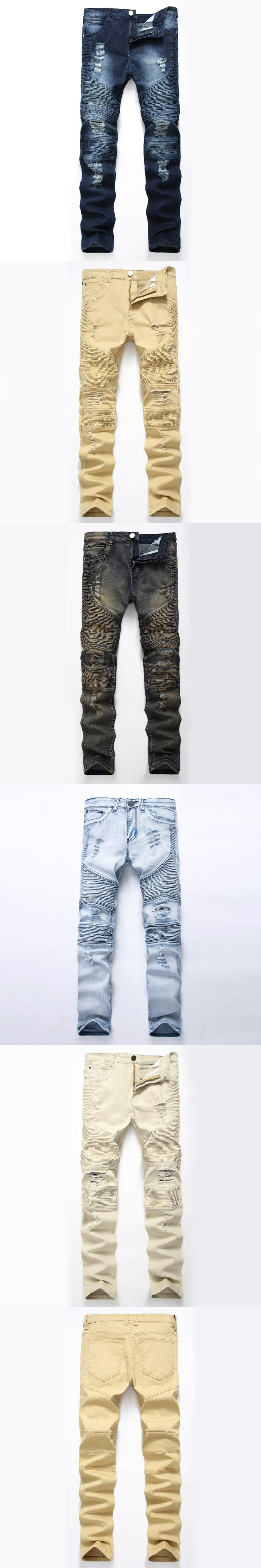 European Style Male Knee Ripped Ragged Jeans For Men Motorcycle Denim Biker Jeans Pants Long Mens Destroyed  Denim Trousers