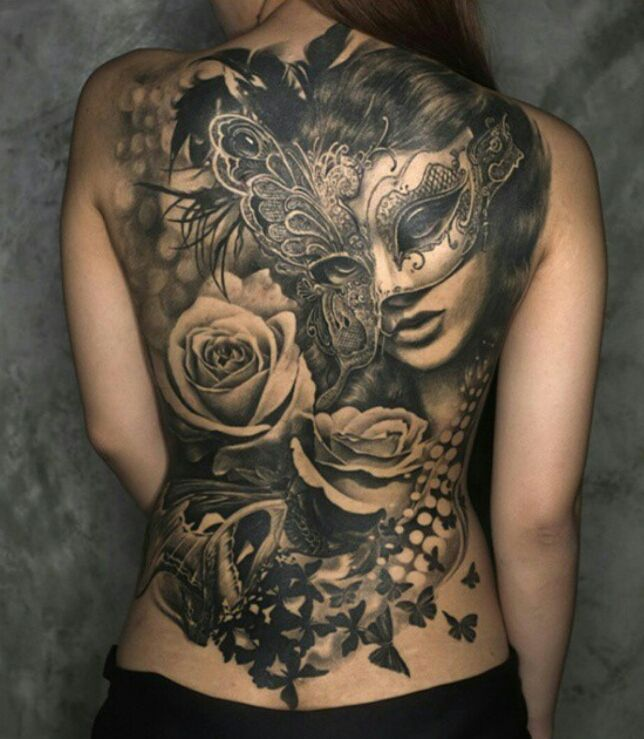 #tattoos #beautiful #inspiring # masquerade #roses #butterflies #back #ladies