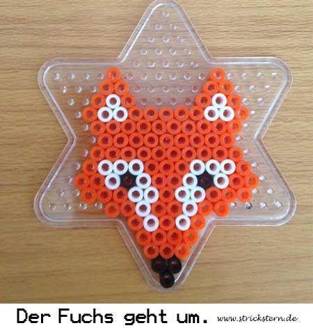 Weitere Bügelperlen Ideen: Vorlage für einen Fuchs aus Bügelperlen. Füchse einfach selbermachen aus Bügelperlen - www.strickstern.de: