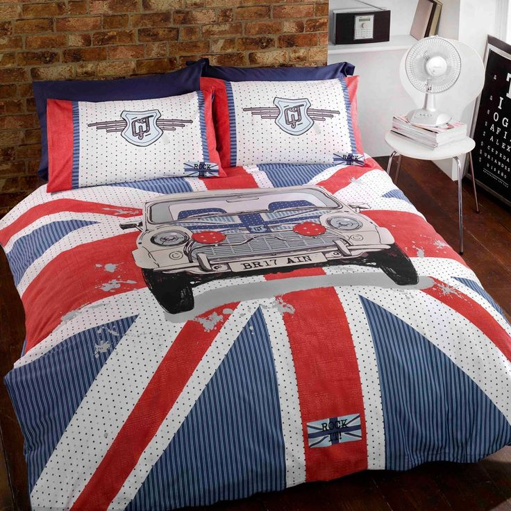 Gt Mini Double Duvet Cover With Pillowcases Union Jack Bedding Bedroom