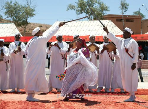 Traditional performers during the annual rose festival El Kelaa M'Gouna, Morocco
