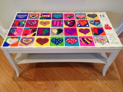 Mom With A Glue Gun   Ceramic Tile Top Table For School Auction. Refinished  Table