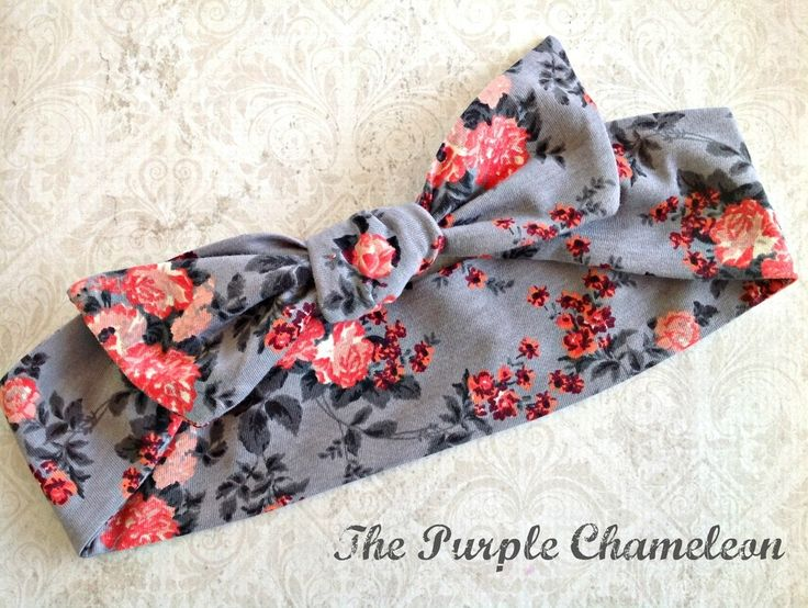 Shades of Gray and Coral Rose Print Knotted Headband Headwrap Twist Up Wire Wrap Headwrap / The Purple Chameleon #floralheadband