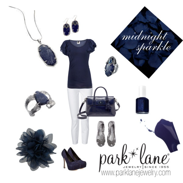 Midnight Sparkle, created by parklanejewelry.polyvore.com  Park Lane Jewelry featured: Night Fall necklace, Midnight Sparkle pierced earrings, bracelet & ring