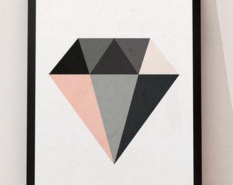 Arte para imprimir póster minimalista diamante pared por ruPrint