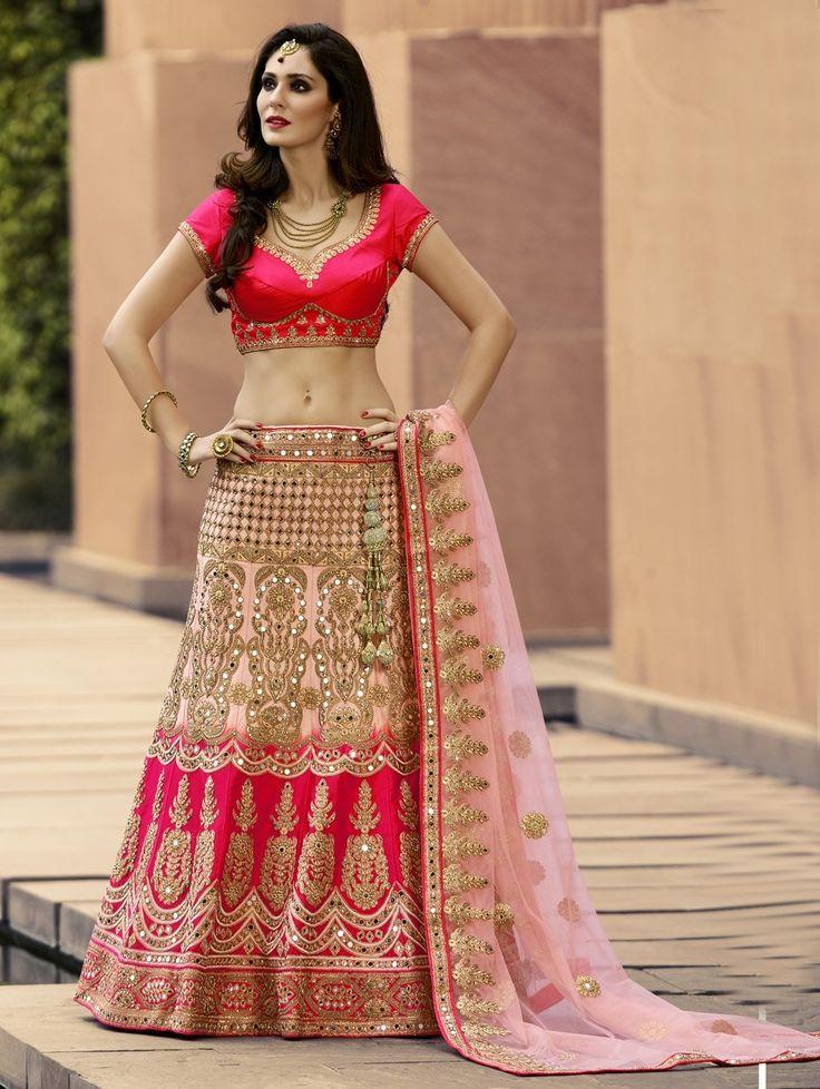 Pink Silk Lehenga Choli with Embroidery Work
