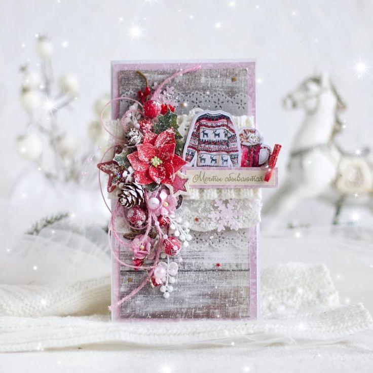 новогодняя розовая открытка скрапбукинг фото