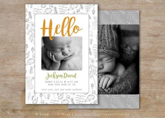 Geboorte aankondiging sjabloon - Woodland geboorte aankondiging - baby jongens geboorte aankondigingen jongen of een meisje geboortekaartje