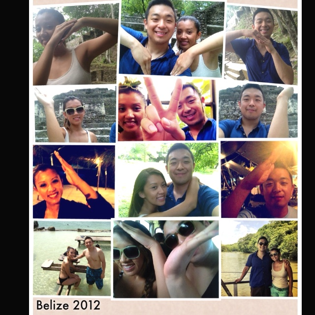 Heart picture collage in Belize