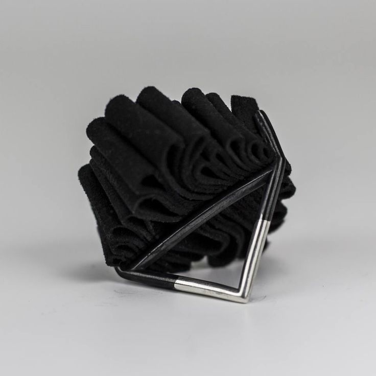 Silver and leather ring