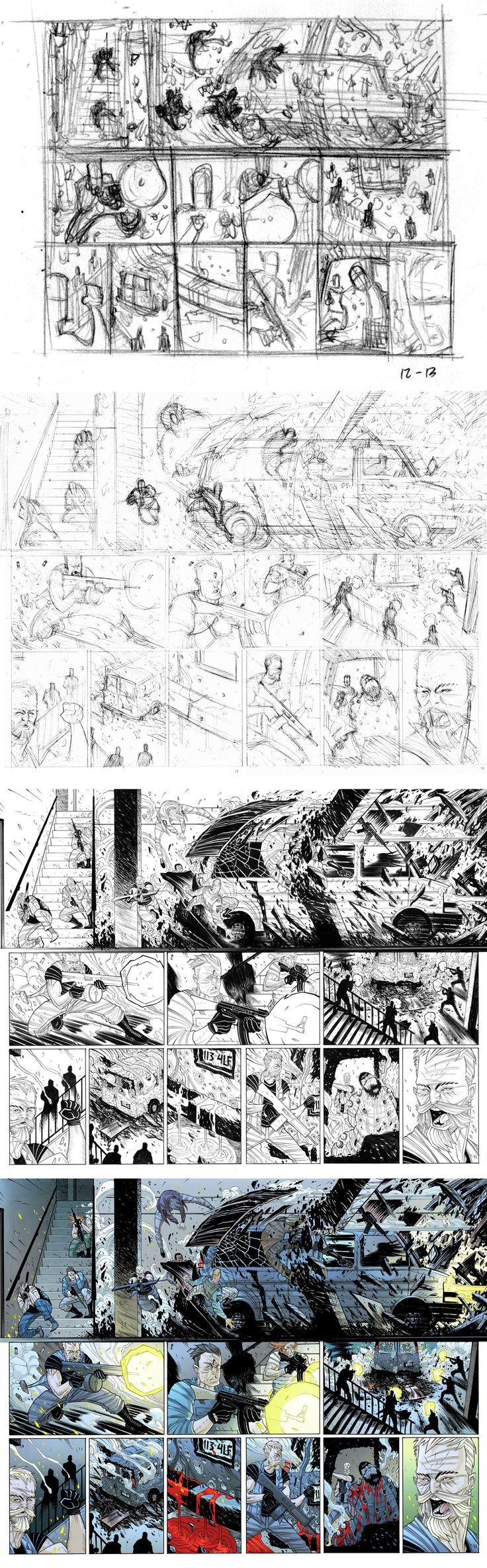 ART PROCESS: Legend of Luther Strode i1 pgs 12-13 by Tradd.deviantart.com on @deviantART
