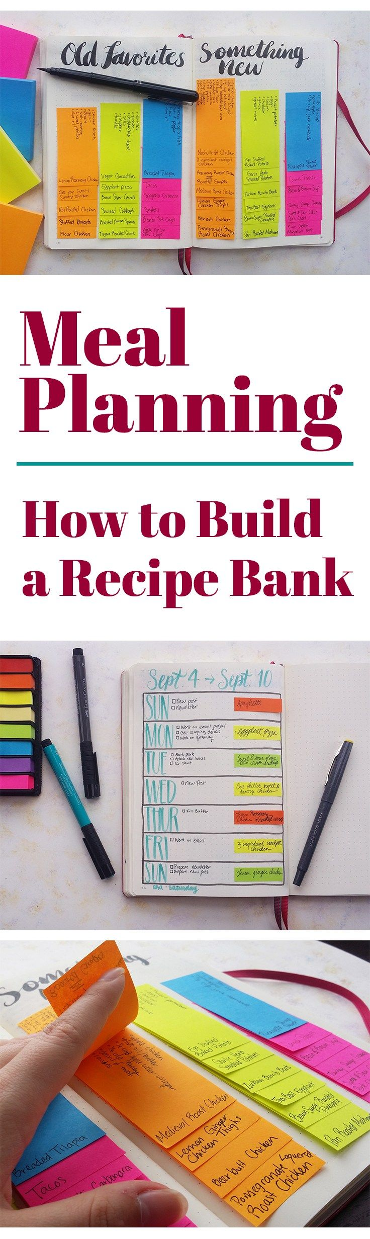 Recipe Bank! Meal Planning is an excellent way to save money, eat healthier, and have stress-free meals every night. My way of dealing with getting stuck in a rut with the same handful of meals is to create a recipe bank in my bullet journal. See how this one easy trick makes it much easier to keep your meals interesting and keep you trying new things every week!