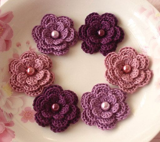 6 Crochet Flowers With Pearls In Purple, Grape, Rose Manve  YH-013-27. $5.40, via Etsy.