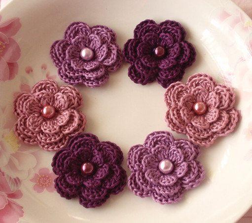 6 häkeln Blumen mit Perlen In lila, Pflaume, Rose Manve YH-013-27