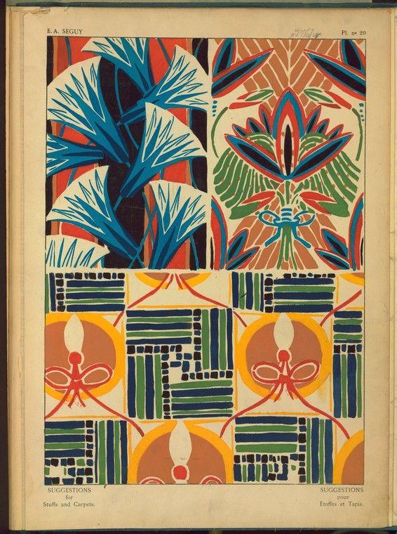 Textile design illustrations from a sample book, E.Ea. Seguy, 1927.