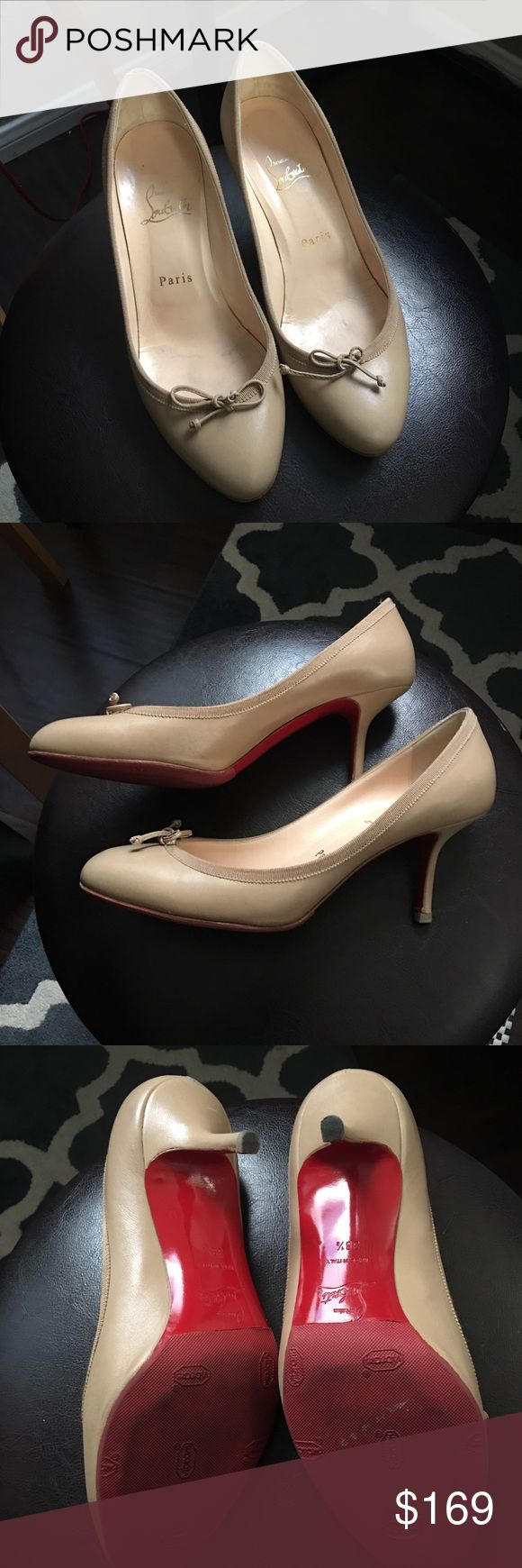 Christian Louboutin Nude Ballet Pumps Classic Ballet with Kitten Heel Christian Louboutin Shoes Heels