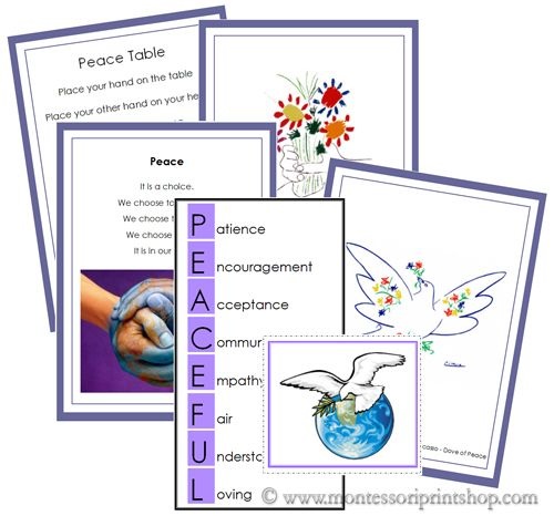 Peace Table Cards - Printable Montessori Peace Materials for Montessori Learning at home and school.