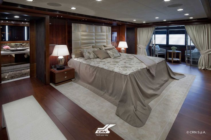 "In the Owner's suite onboard CRN M/Y ""J'Ade"", there is one of the distinctive features of all the CRN vessels: the balcony, which can be kept open even while sailing, furnished with a coffee table and armchairs for breakfast. #Luxury #SuperYacht #MegaYacht"