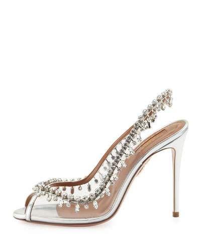 X3MKG Aquazzura Temptation Crystal Slingback Sandal, Silver