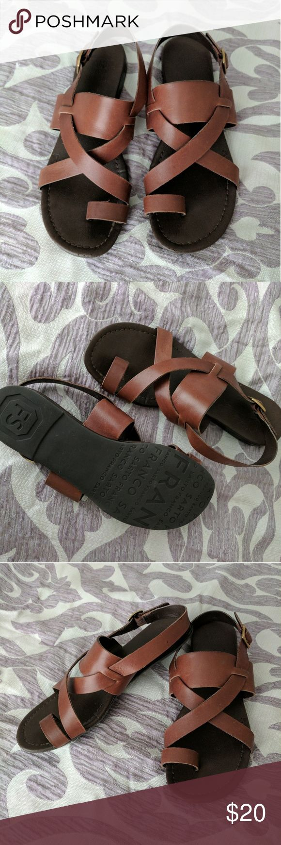 Leather Franco Sarto Sandals 8.5 Super comfy and well-made leather sandals by Franco Sarto. These are a womens US 8.5,  but do have a slimmer fit. Franco Sarto Shoes Sandals