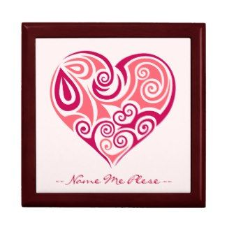 Pink tribal tattoo heart symbol girly love art gift box