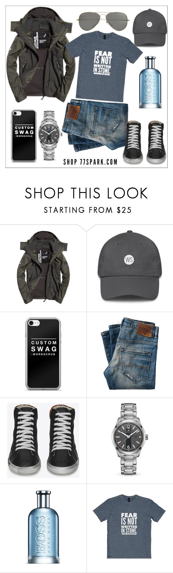 """""""77SPARK CONTEST"""" by celine-diaz-1 ❤ liked on Polyvore featuring Superdry, Yves Saint Laurent, Hamilton, HUGO, Parasol, men's fashion and menswear"""