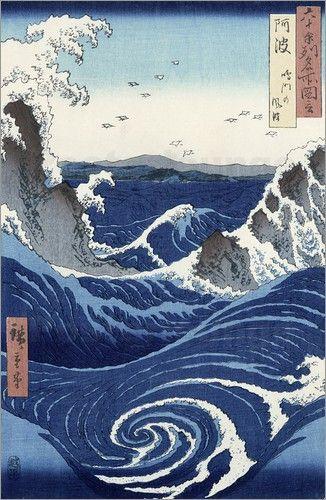 View of the Naruto whirlpools at Awa, Hiroshige