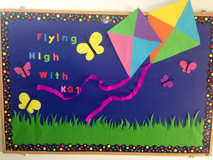 Spring , Cambridge school of Bucharest , kindergarten, bulletin boards, kites, flying, flowers, preschool, butterflies