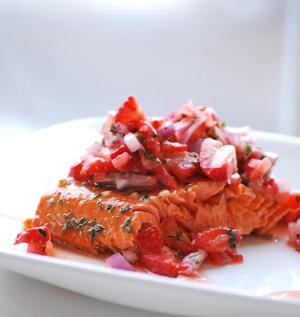 brown sugar-lime salmon with strawberry-basil salsa.